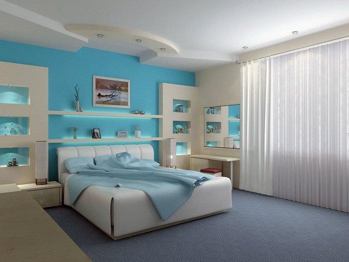 Современные идеи дизайна спальни 2016 фото белый голубые стены