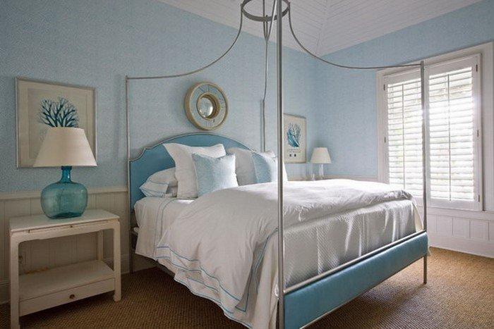 Современные идеи дизайна спальни 2016 фото голубые белые тона