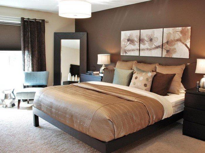 Современные идеи дизайна спальни 2016 фото коричневые тона бежевый бронзовый