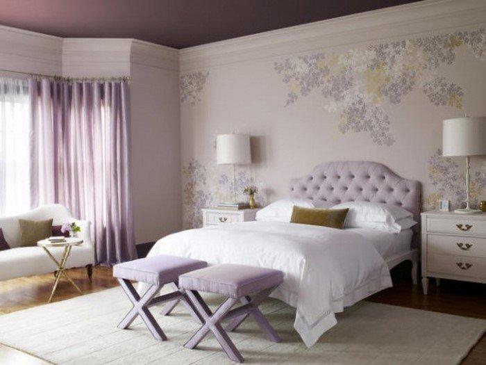 Современные идеи дизайна спальни 2016 фото сиреневый интерьер