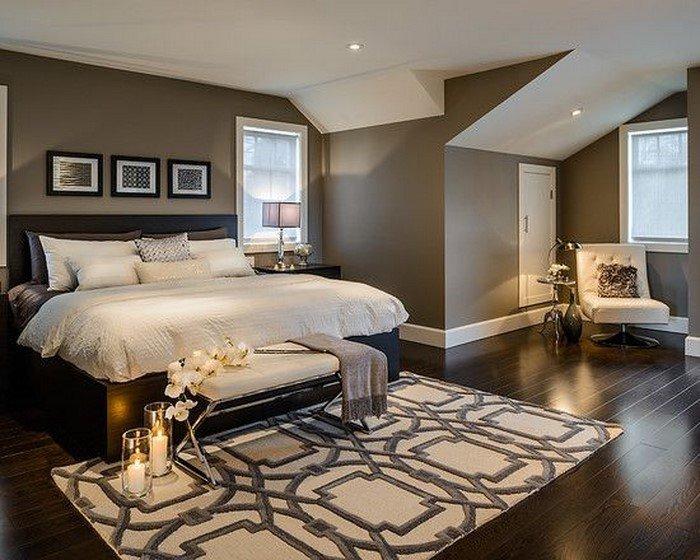 Современные идеи дизайна спальни 2016 фото темные стены мансарда