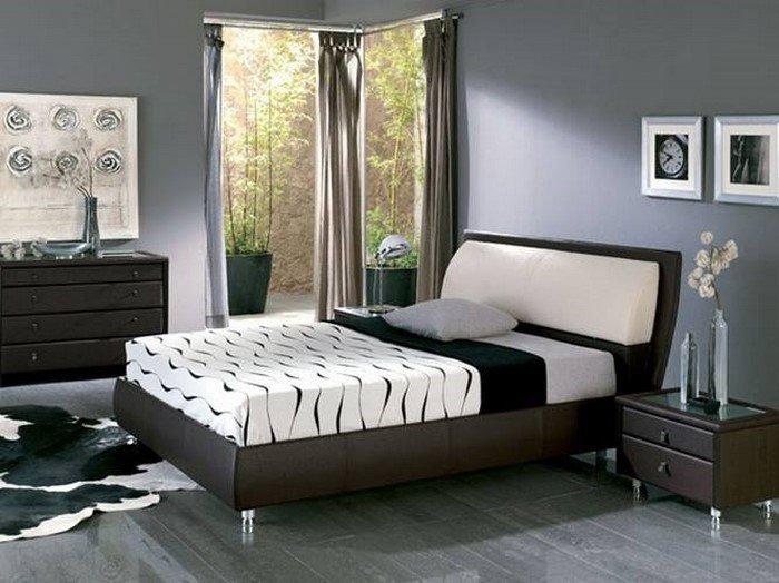 Современные идеи дизайна спальни 2016 фото темные стены мебель