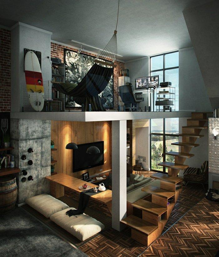интерьер квартиры в стиле лофт фото два уровня гостиная кабинет лестница