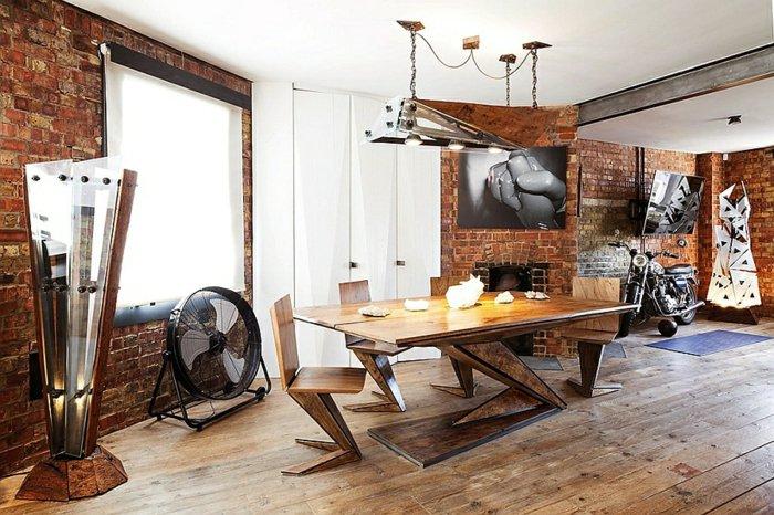 интерьер квартиры в стиле лофт фото кирпичная стена деревянный стол