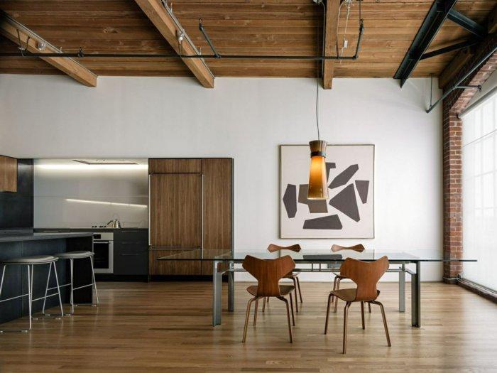 интерьер квартиры в стиле лофт фото кухня столовая деревов сталь