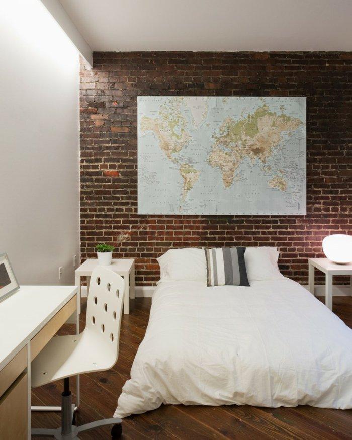 интерьер квартиры в стиле лофт фото спальня кирпичная стена