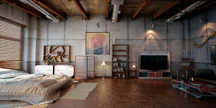 интерьер квартиры в стиле лофт фото спальня кровать серые бетонные стены