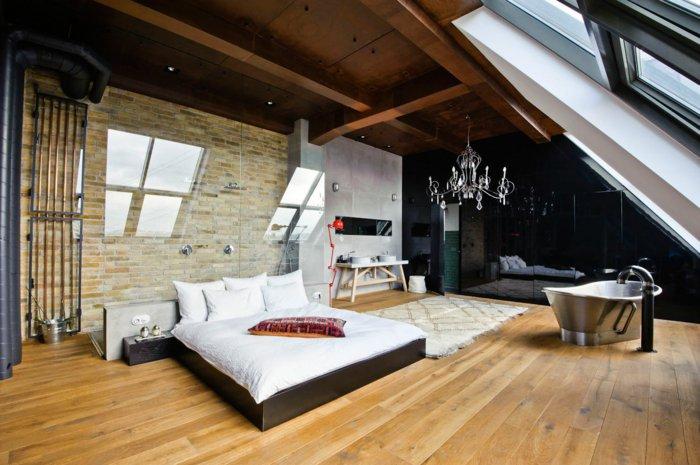 интерьер квартиры в стиле лофт фото спальня ванная люстра