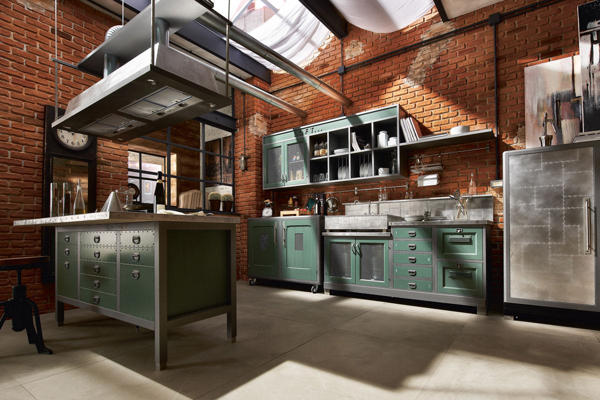 кухня в стиле лофт фото дизайн интерьера кирпичные стены зеленая мебель