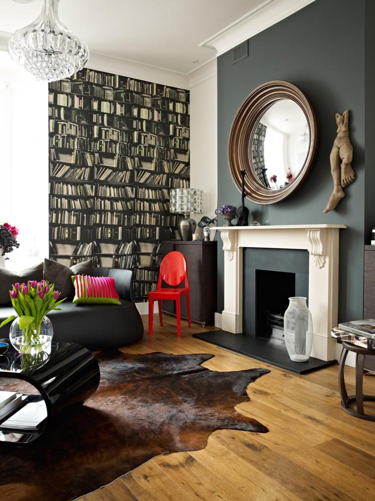 можно в современном классическом стиле в интерьере фото гостиная камин яркие акценты