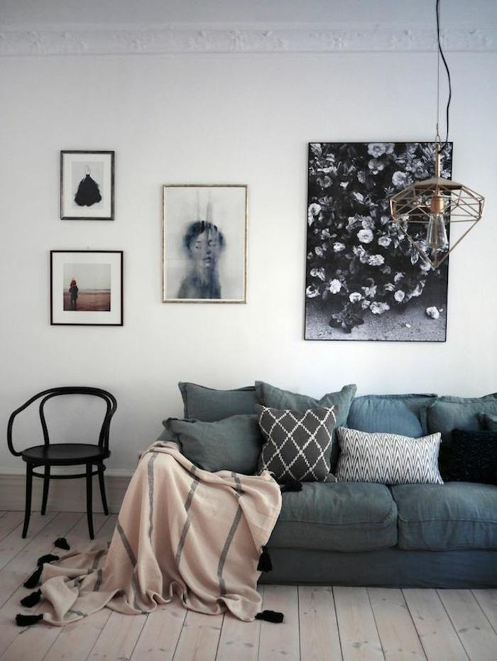 розовый цвет в интерьере фото сочетание с серым диваном белые стены