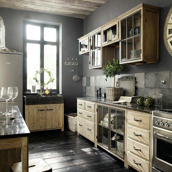 современный кантри стиль на кухне фото ящики