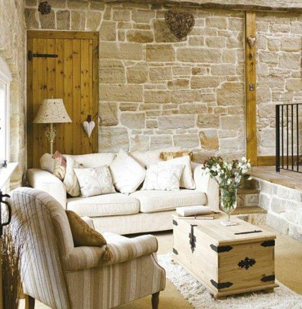 современный кантри стиль в гостиной фото диваны подушки сундук