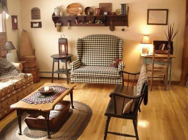 современный кантри стиль в гостиной фото кресло в клетку
