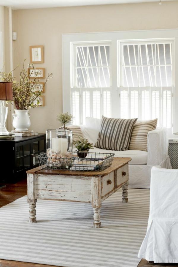 современный кантри стиль в гостиной фото журнальный столик диван