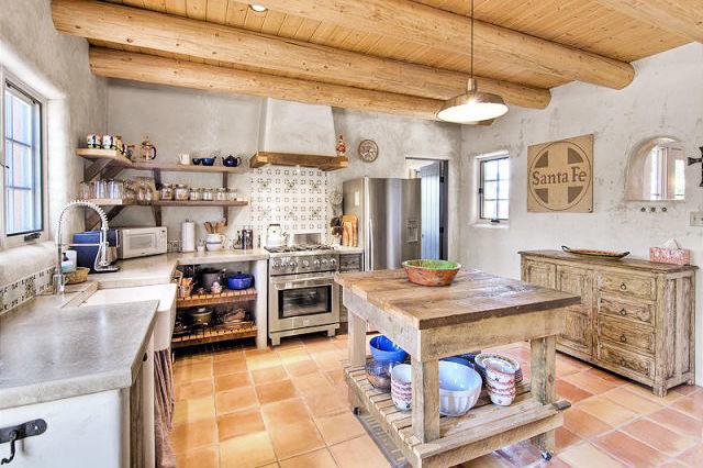 стиль кантри на кухне фото в частном доме дерево