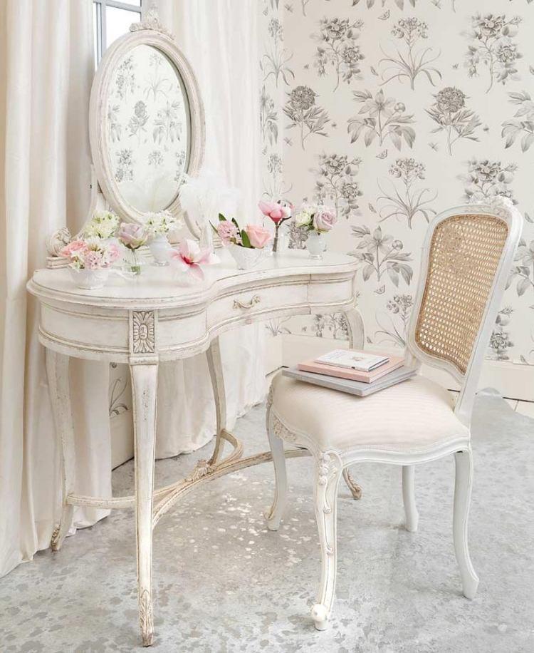 стиль шебби шик в интерьере фото оформление туалетного столика мебель аксессуары