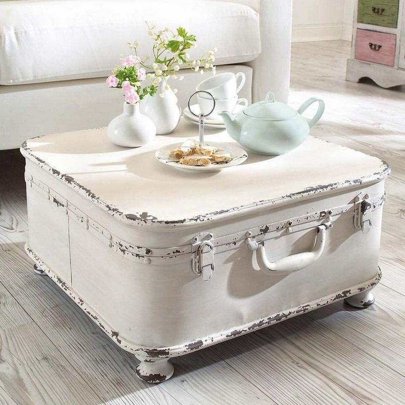 стиль шебби шик в интерьере фото своими руками журнальный столик из старого чемодана