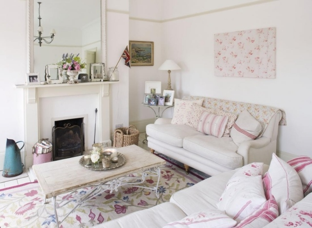 стиль шебби шик в интерьере гостиной фото бежевый розовый декор аксессуары