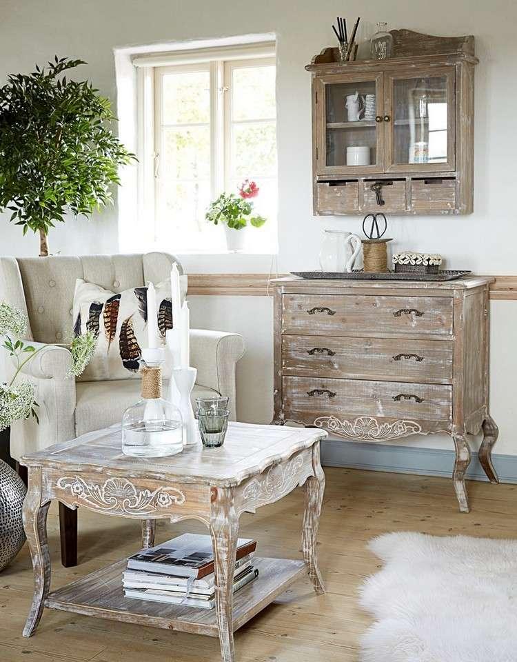 стиль шебби шик в интерьере гостиной фото комнаты деревянная мебель аксессуары декор