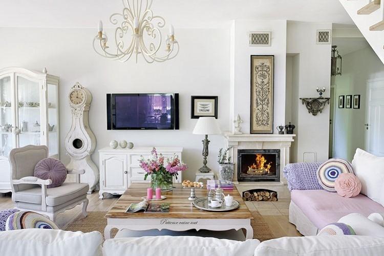 стиль шебби шик в интерьере гостиной фото современный белая мебель