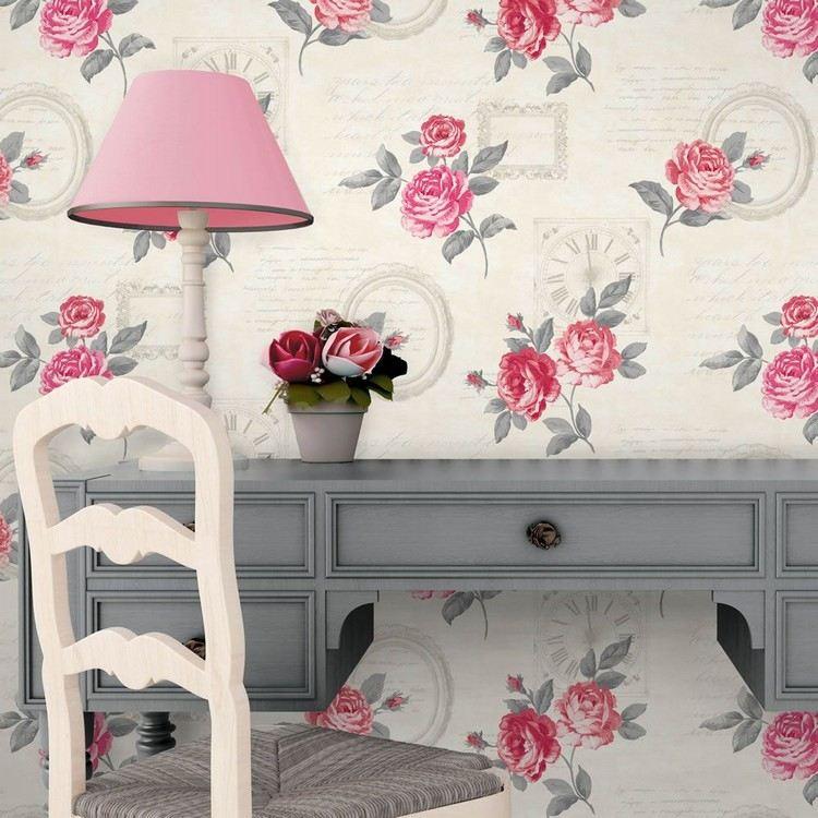 стиль шебби шик в интерьере кабинета фото обои с розами аксессуары декор