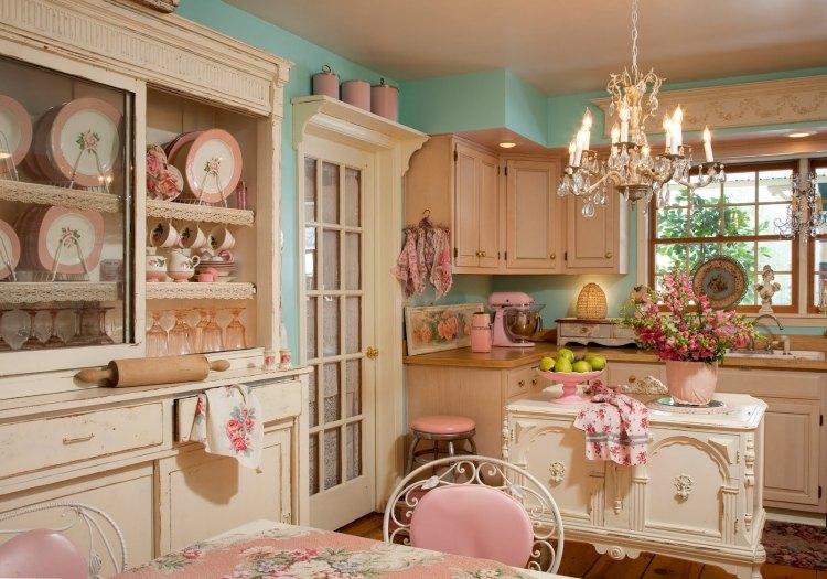 стиль шебби шик в интерьере кухни фото розовый голубой белый