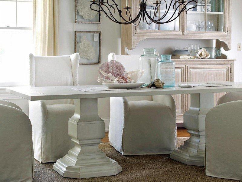 стиль шебби шик в интерьере столовой фото чехлы на стулья аксессуары стекло