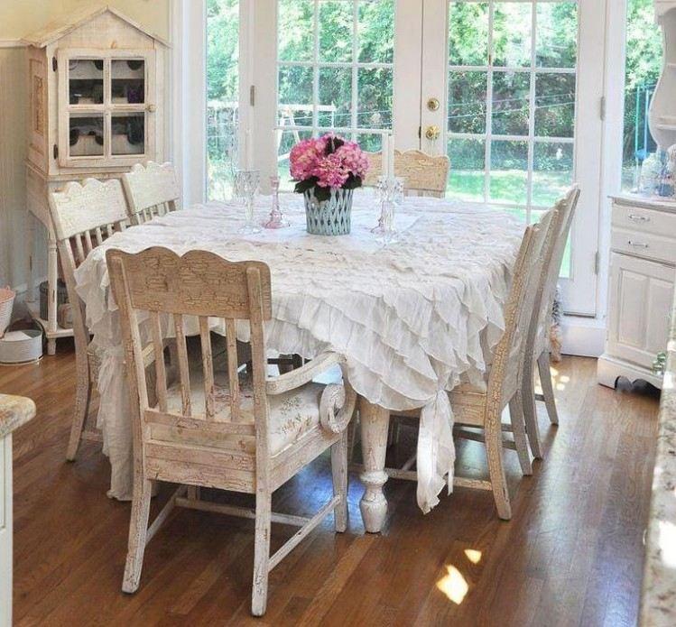 стиль шебби шик в интерьере столовой фото оформление декор скатерть