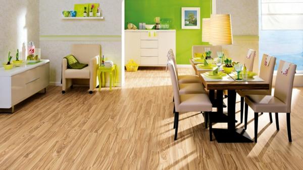 светлый ламинат в интерьере столовой фото зеленые стены бежевая мебель