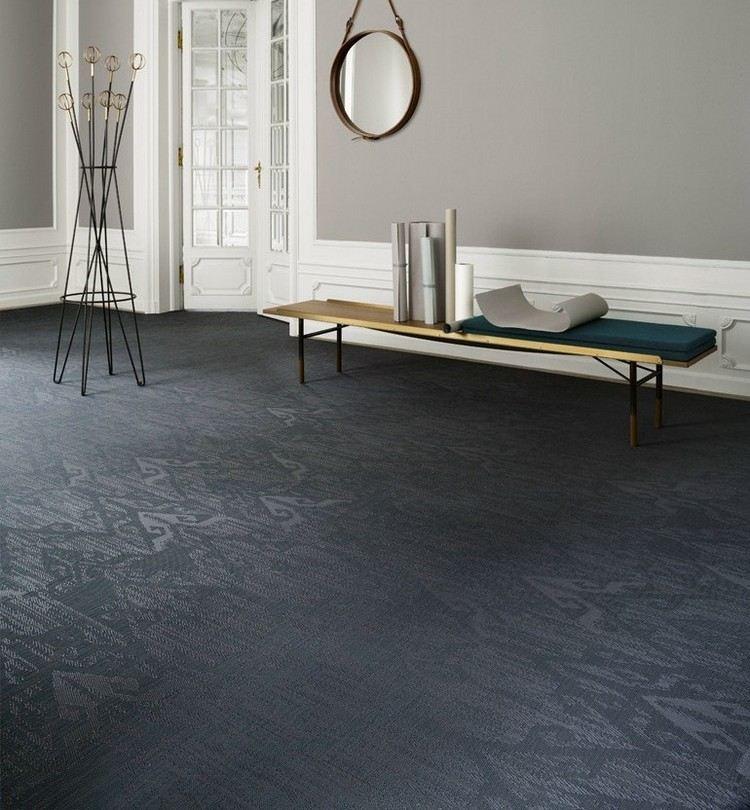 темно синий ковролин в интерьере фото палас на пол с узором