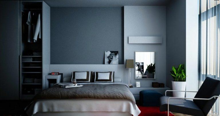 Спальня серые обои белая мебель фото