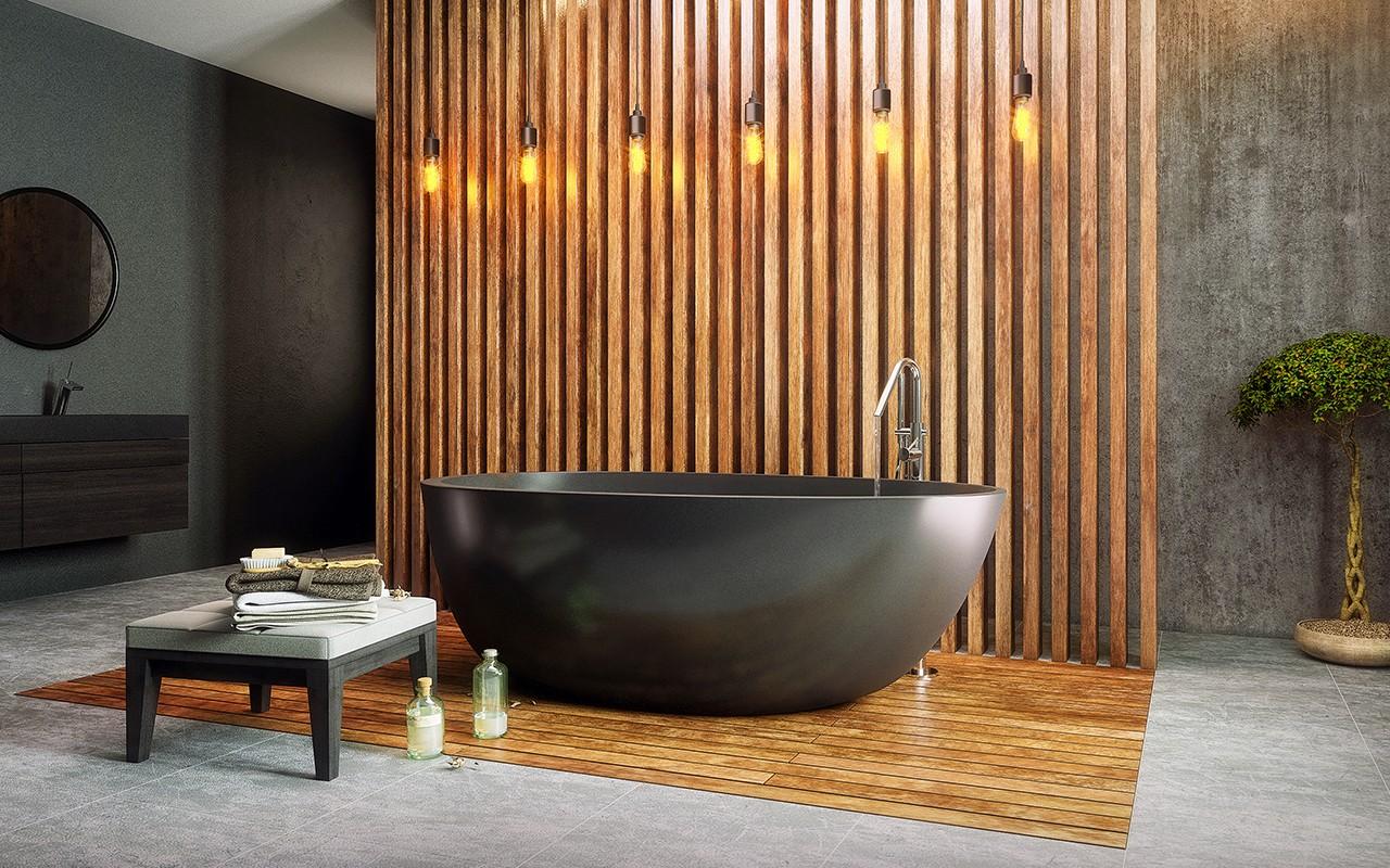 Красивая черная ванна из литого камня 2