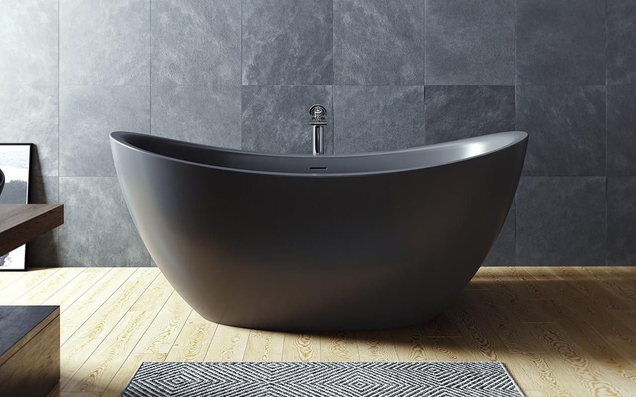 Красивая черная ванна из литого камня 4