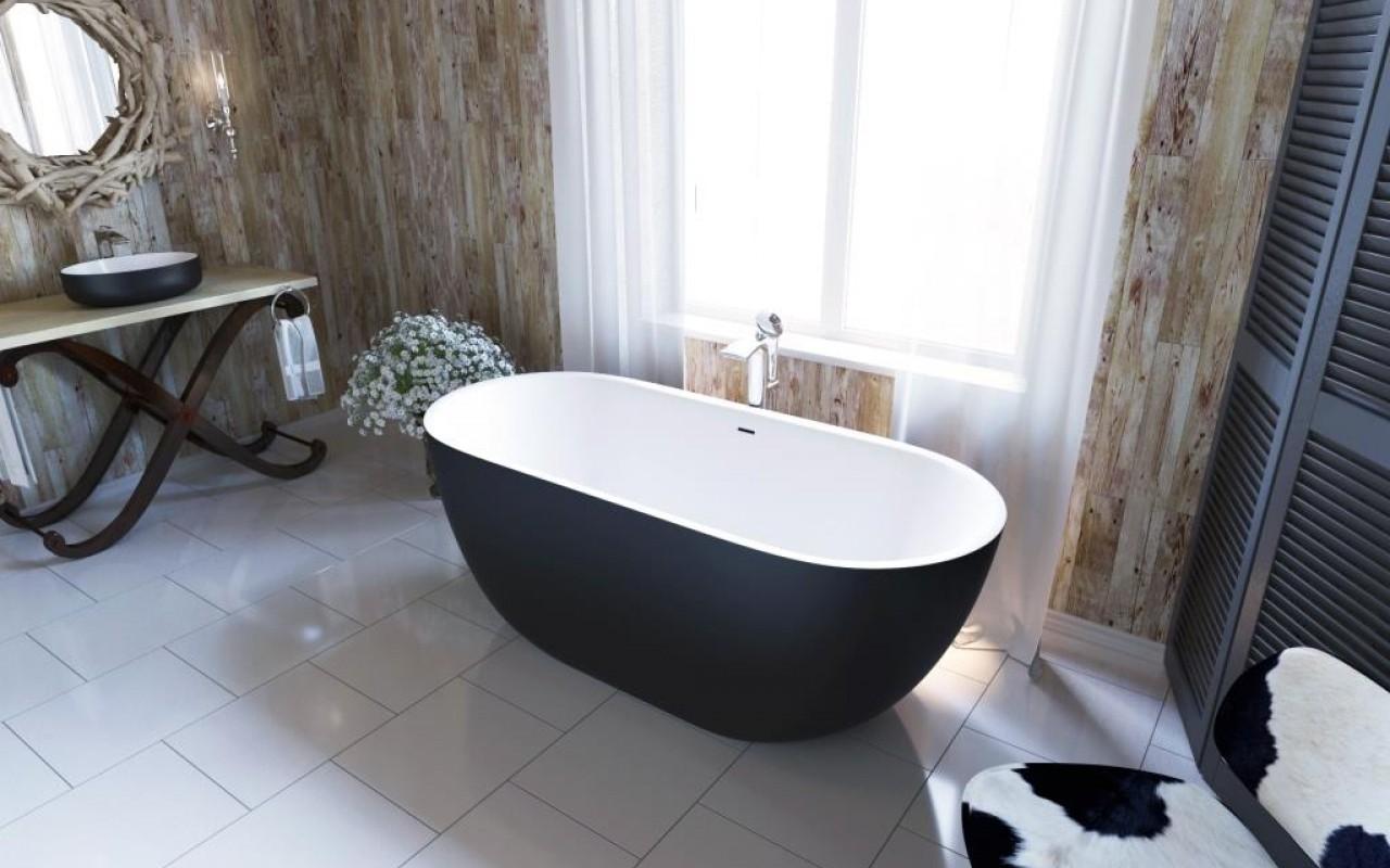 Красивая черно-белая ванна из литого камня 1