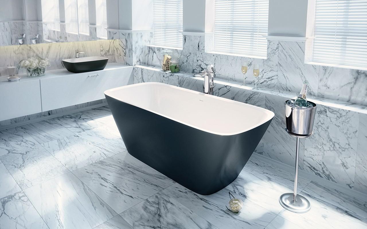 Красивая черно-белая ванна из литого камня 2
