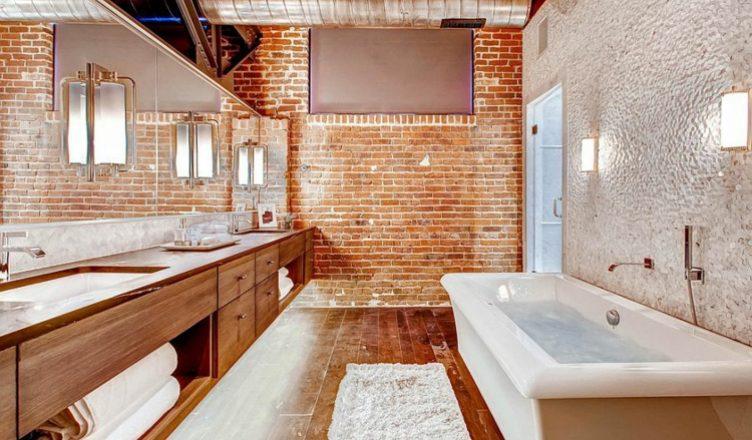 кирпич в ванной комнате дизайн фото (14)