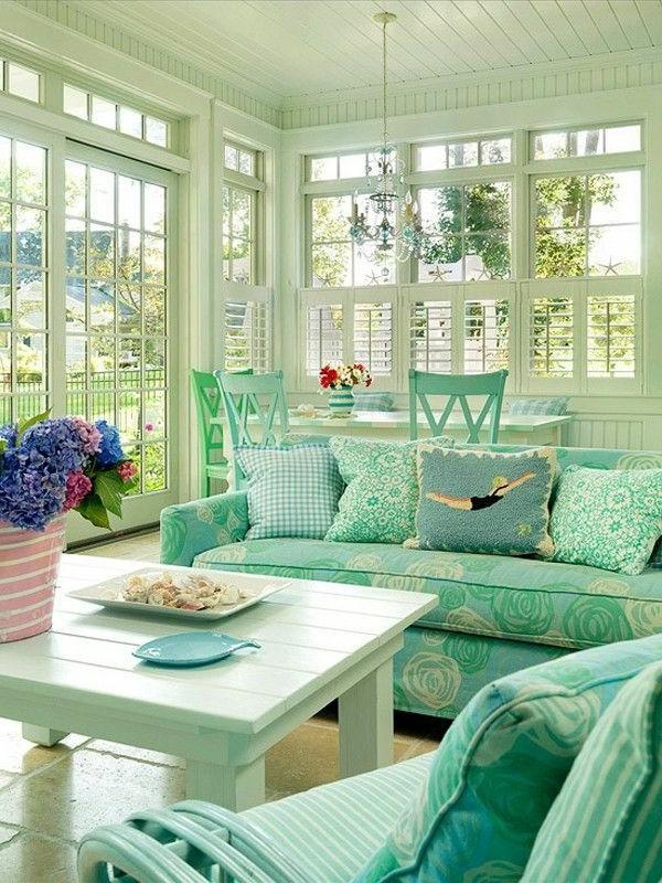 мятный цвет в интерьере гостиной кухни спальни