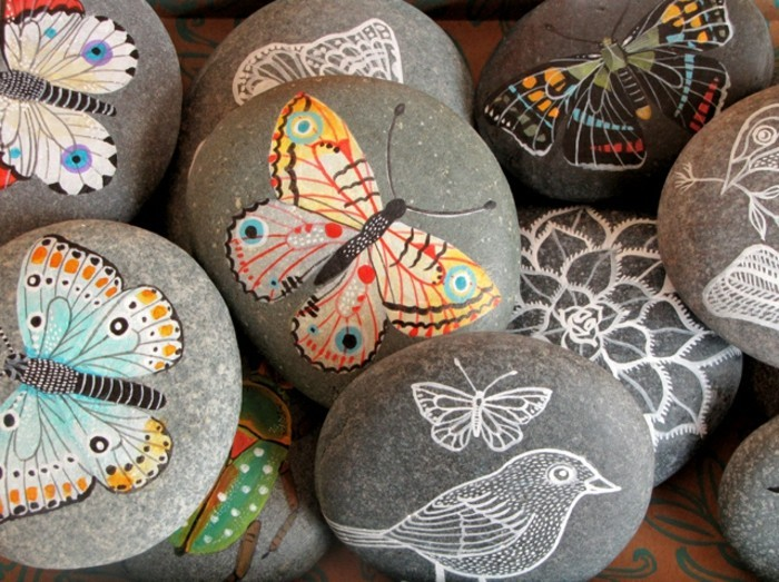рисование на камнях роспись камней для сада камни декорация