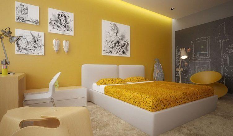 желтый цвет в интерьере фото