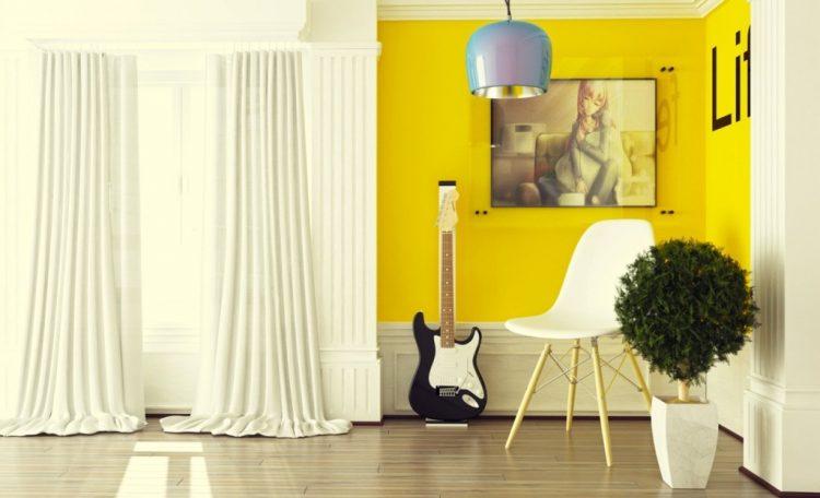 желтый в интерьере фото