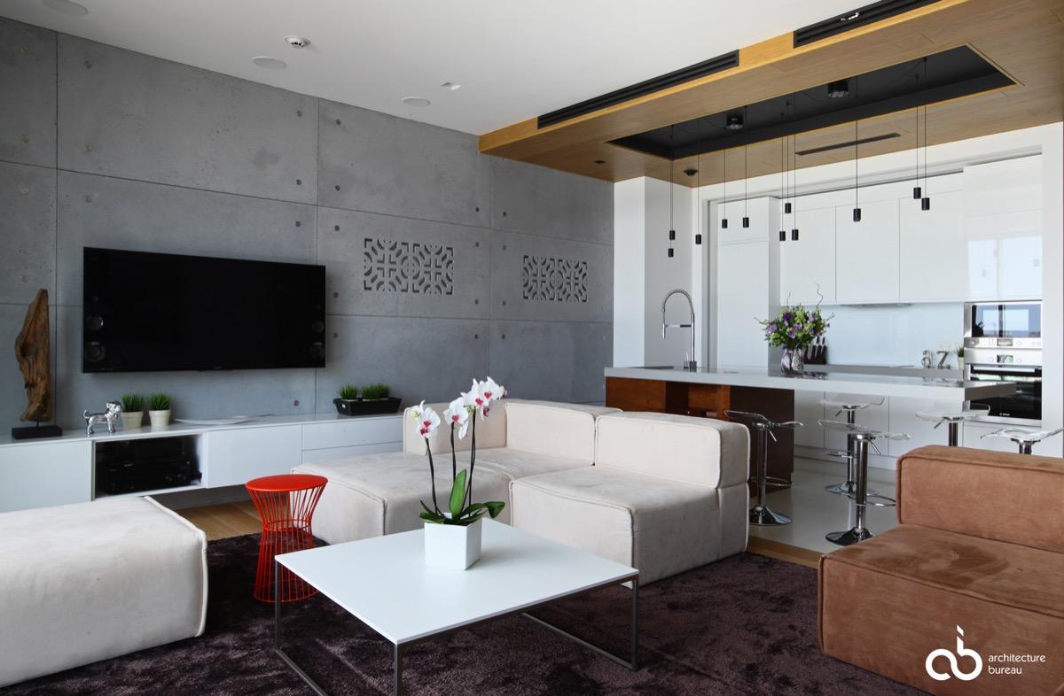 бетон в интерьере фото гостиная
