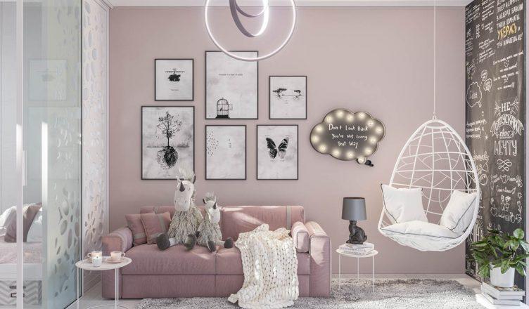 розовый цвет в интерьере детской фото